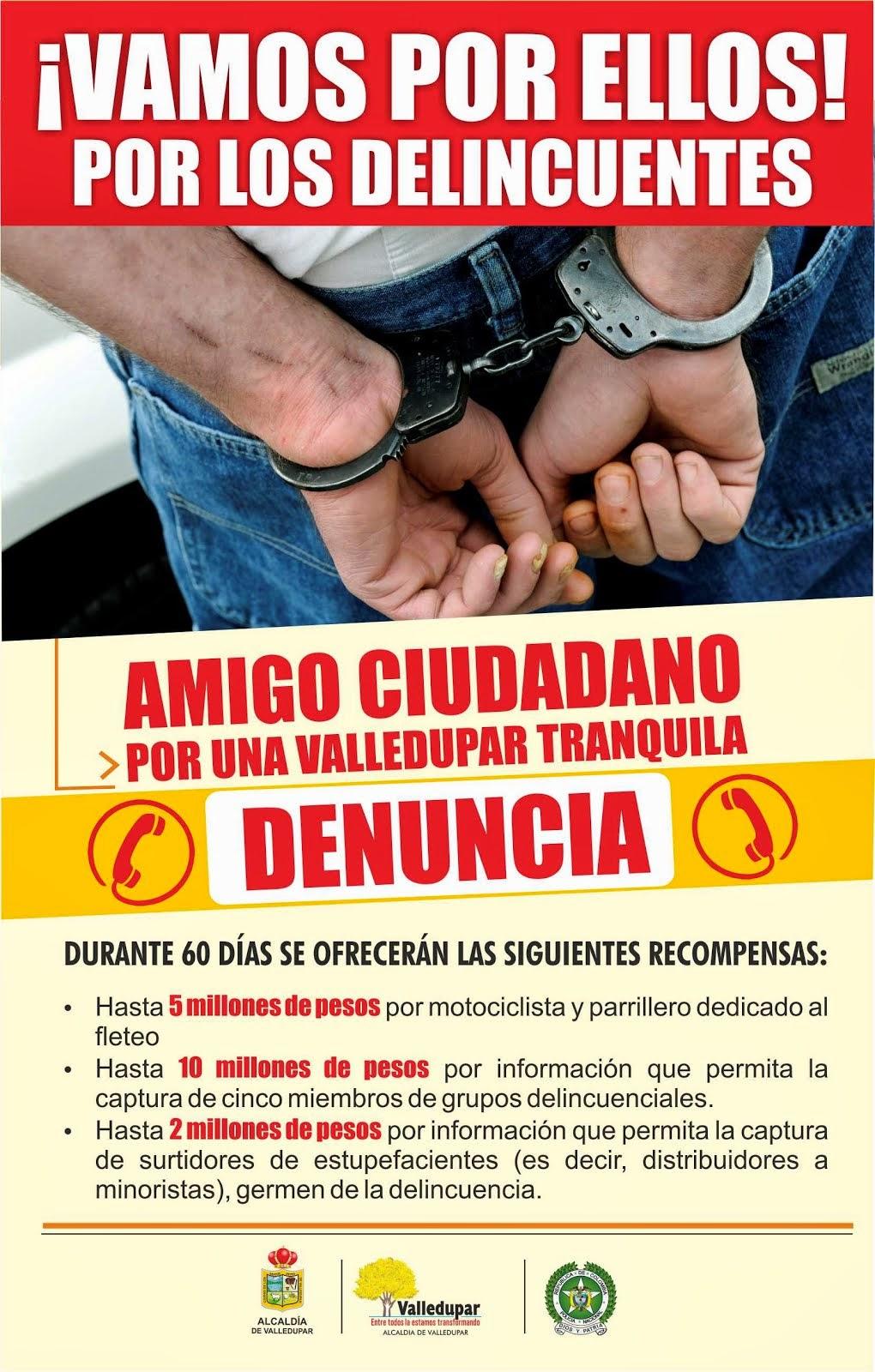 Recompensa por información que lleve a capturar delincuentes