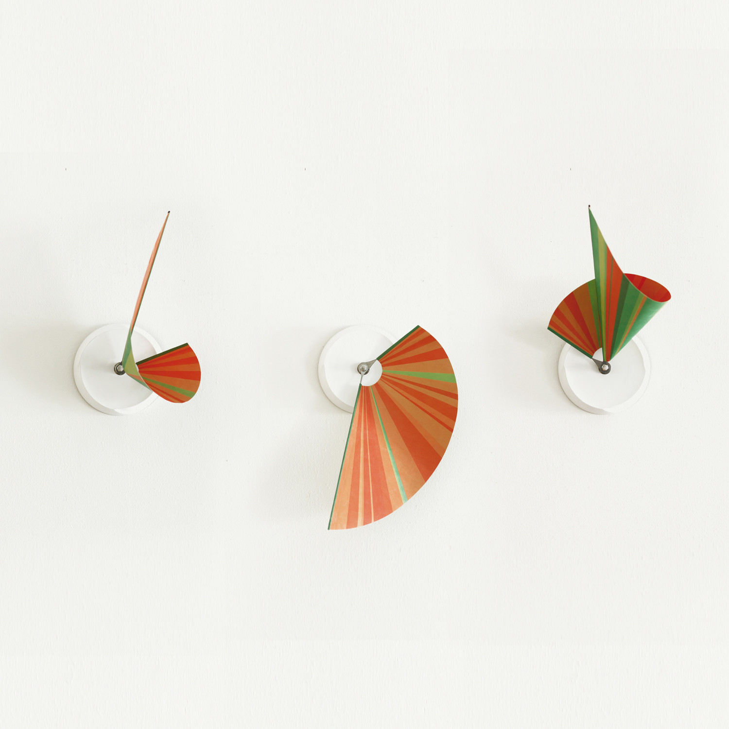 Manifold Clock Green & Orange Stripes 14'' by Shay Carmon and Ben Klinger