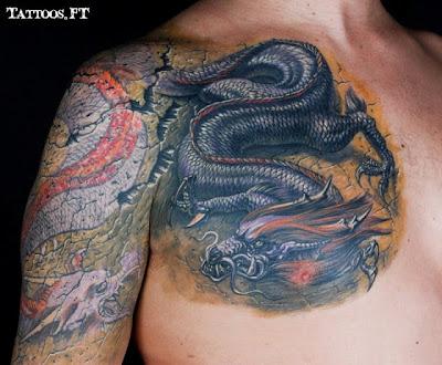 Tatuagens Dragão Tatuado no Peito
