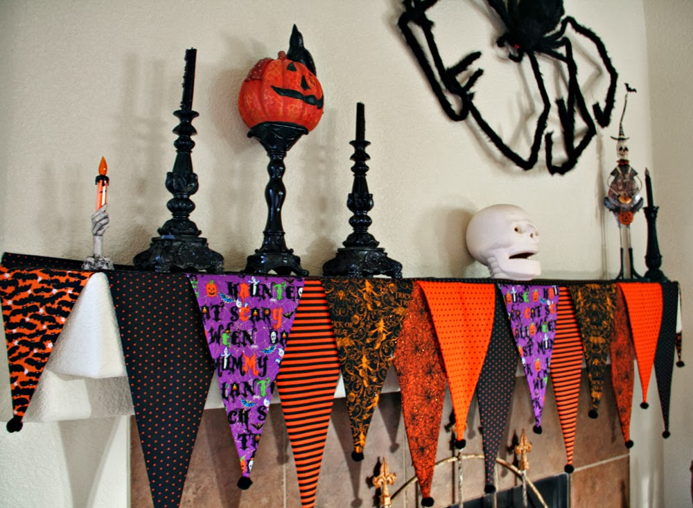 i made this mantel scarf because i could not find one to fit my fireplace this fireplace mantel is a goofy size the sides are at an angle so that was not - Big Lots Halloween Decorations