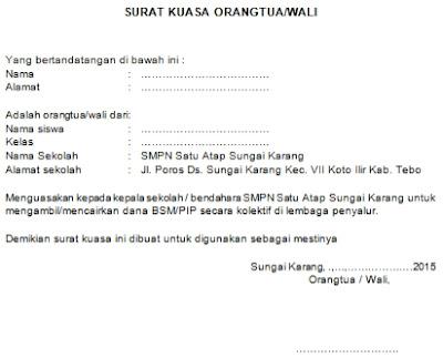 Contoh Surat Kuasa Orang Tua Wali Untuk Pengambilan