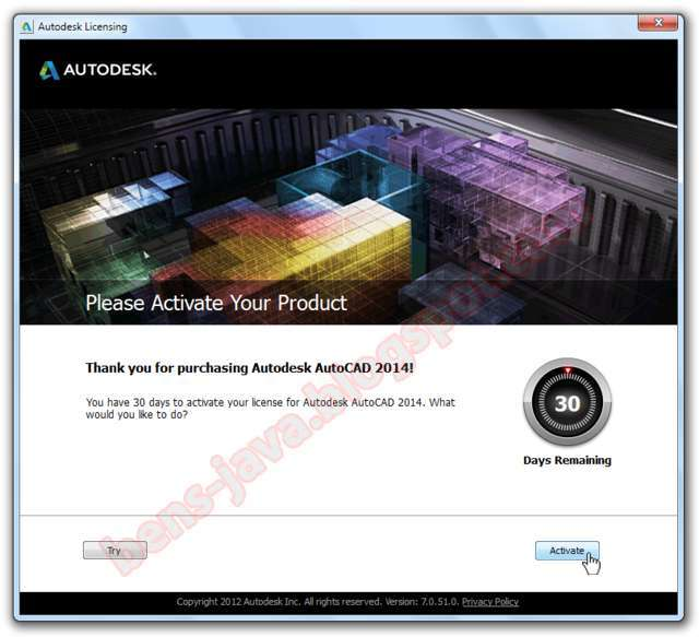 Dilanjutken pilih I have an activation code from Autodesk pada