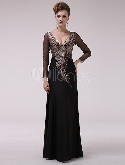 Black V-Neck Embroidered A-line Long Sleeves Elastic Woven Satin Evening Dress