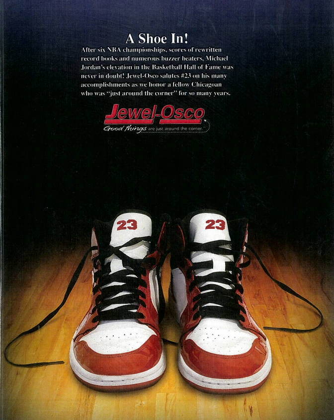 "23, the number Jordan wore for most of his tenure with the Chicago Bulls,  appears on the tongue of each shoe, and the text reads: ""A Shoe In! After  six NBA ..."