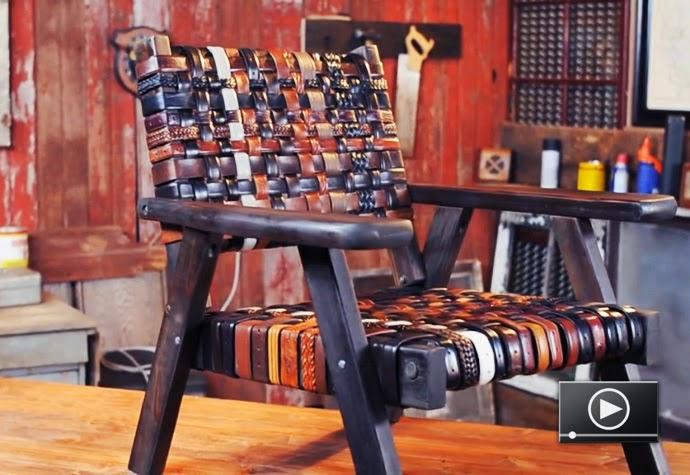 Chaises Rénovées avec des Ceintures Recyclées