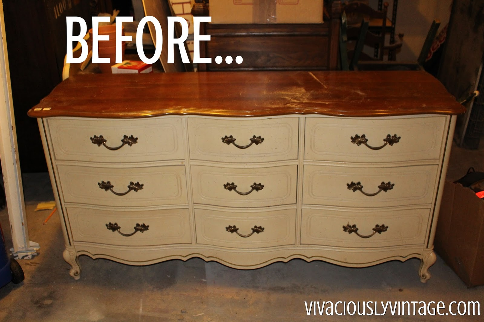 I Ve Seen Several Beautiful White Gold Dipped French Provincial Dressers On Pinterest Loved The Look And Knew That Needed A Dresser