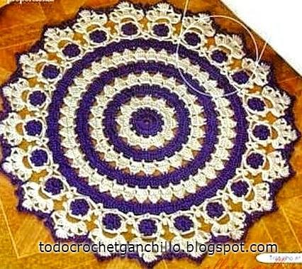 Alfombra circular tejida al crochet con patrones
