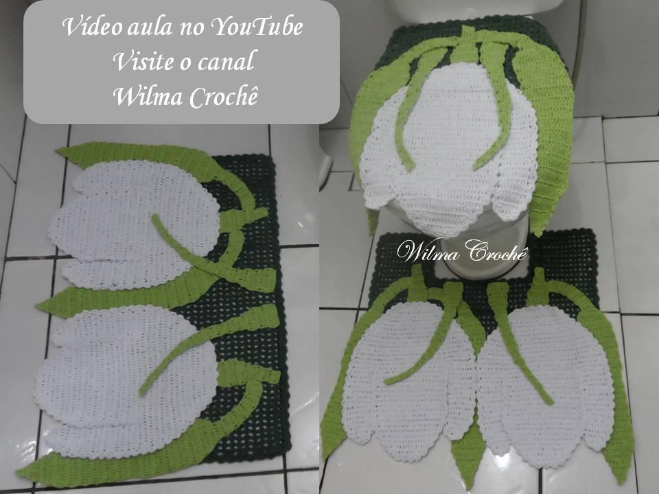Wilma Crochê: Jogo de Banheiro Tulipas em Crochê