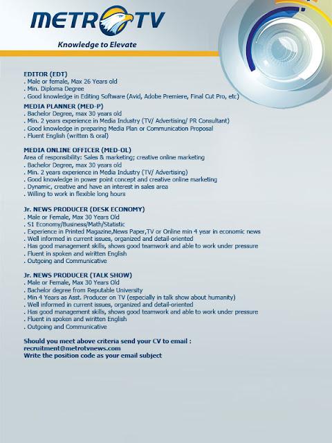 Lowongan Kerja MetroTV (MetroTVNews.com) Juli 2012 untuk Tingkat D3 ...