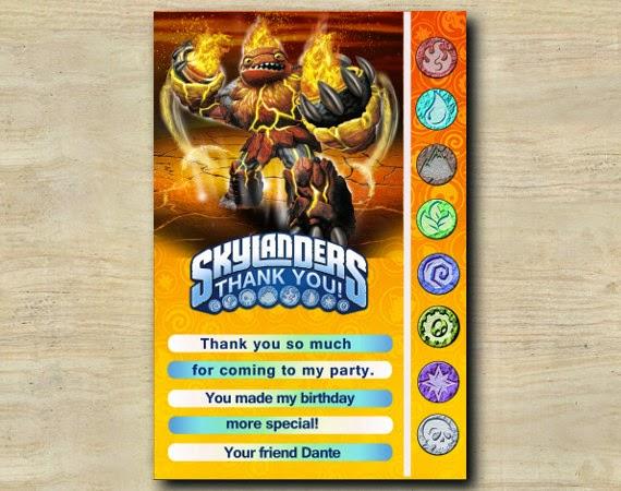 Custom Birthday Party Invitations Skylanders Thank You Card
