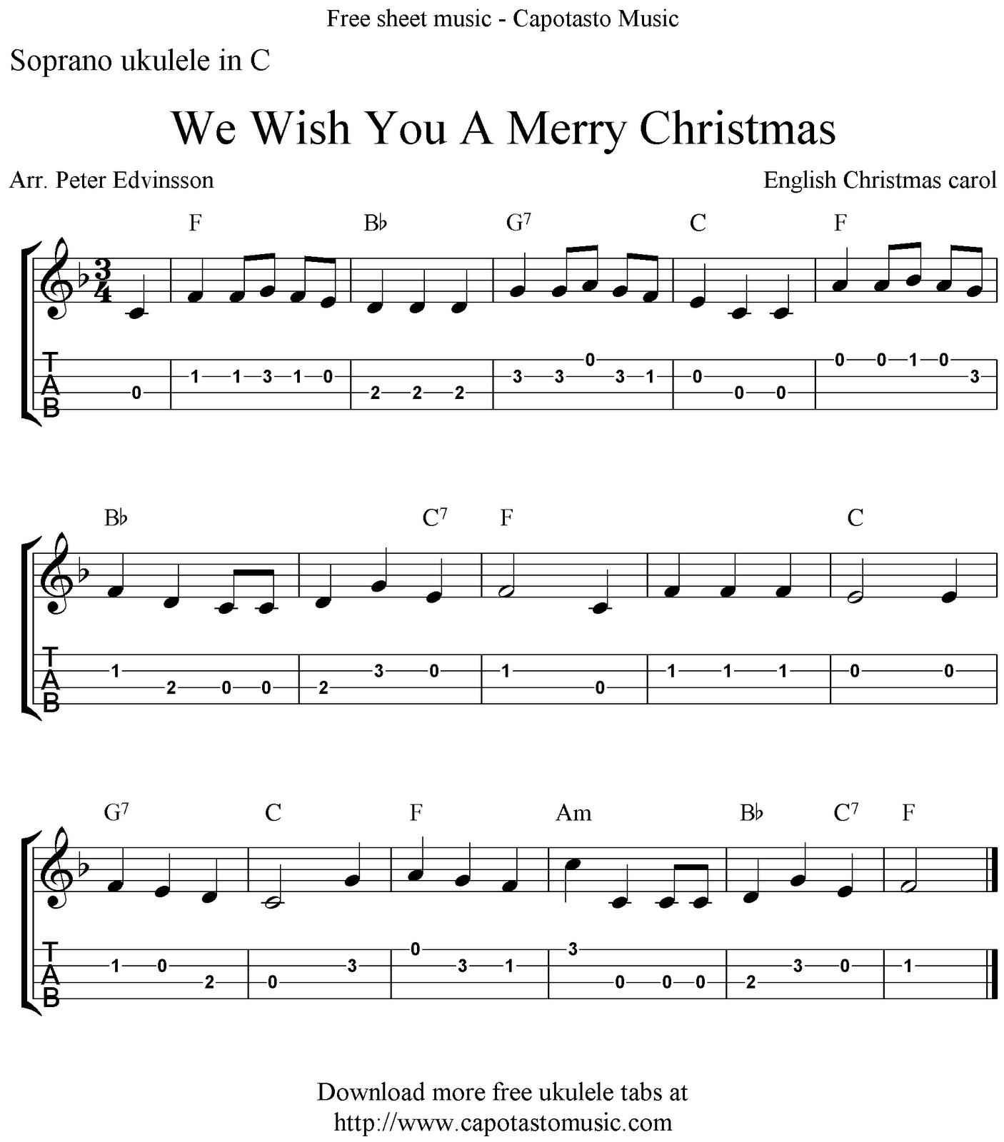 We Wish You A Merry Christmas, free Christmas ukulele tabs sheet music