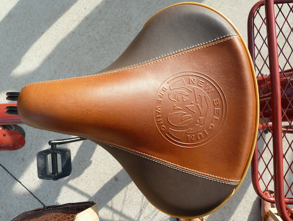 top view image of the Custom leather seat of the Fat Tire 2011 Anniversary bicycle by Felt Bicycle Company