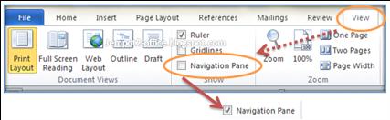 Navigation Pane Pada Microsoft Word 2010