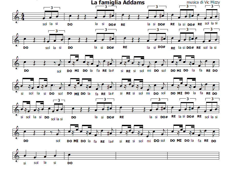 addams family theme song sheet music pdf