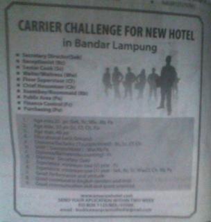 Lowongan Kerja Emersia Hotel Bandar Lampung Terbaru Februari 2013