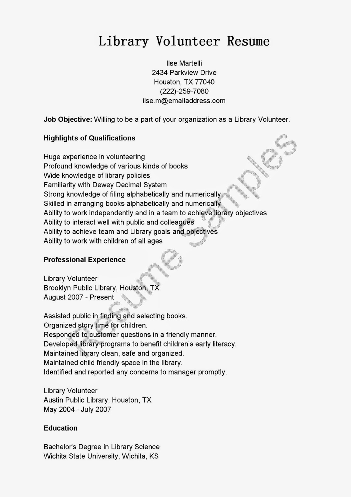 library volunteer cover letter manual testing sle