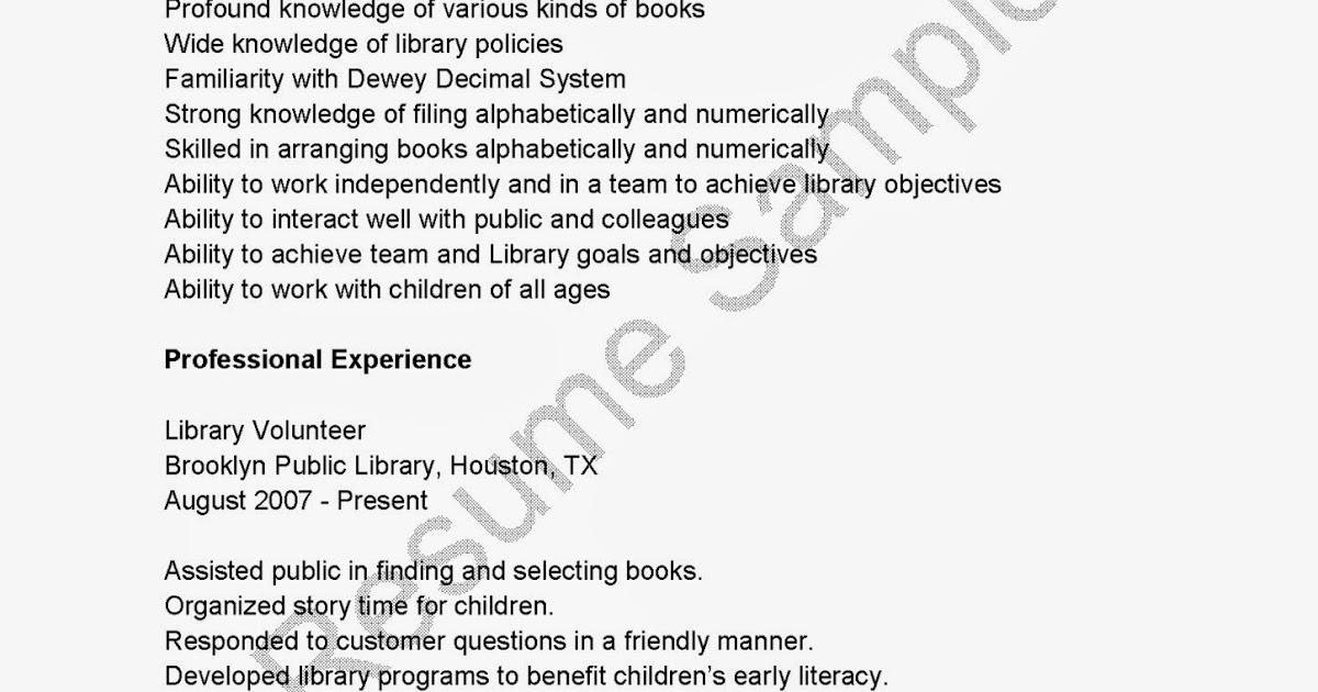 resume sles library volunteer resume sle