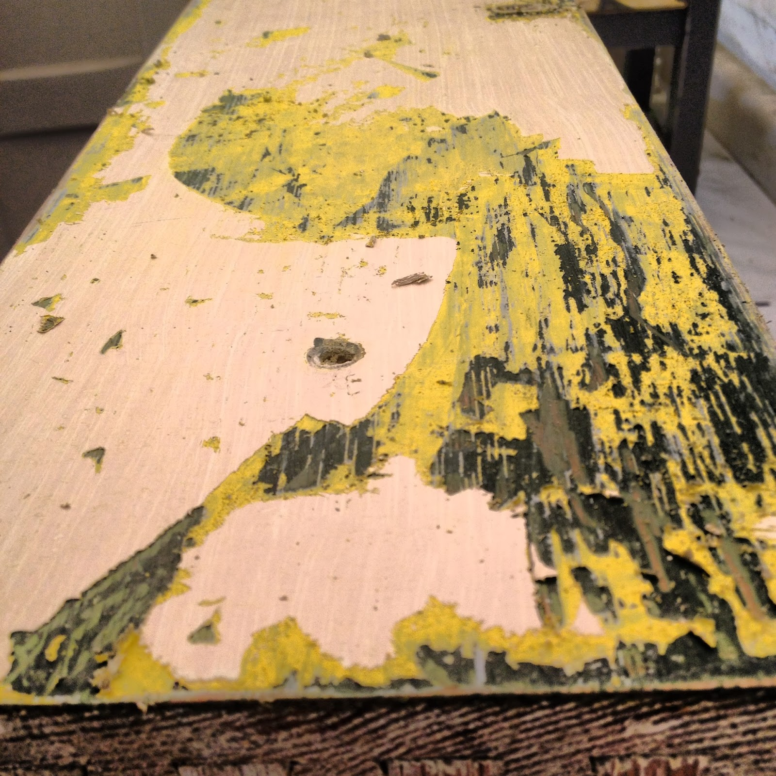 paint stripping drawer front yellow cream green