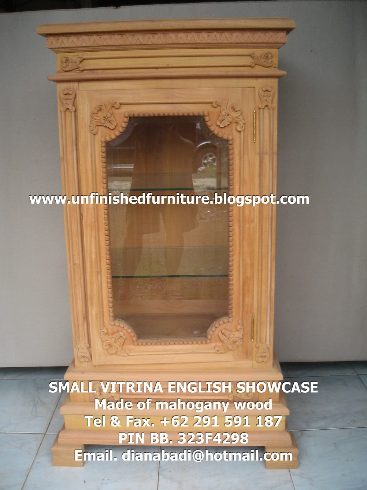 unfinished mahogany furniture small showcase vitrina