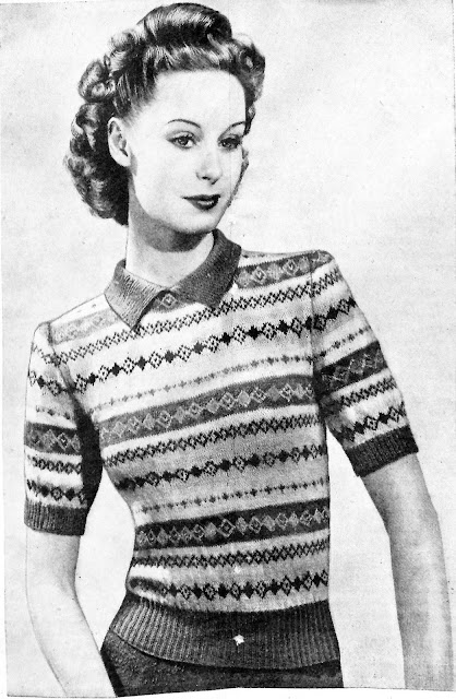 The Vintage Pattern Files - Free 1940's Knitting Pattern - A Fair Isle to Use Up Your Small Scraps of Yarn