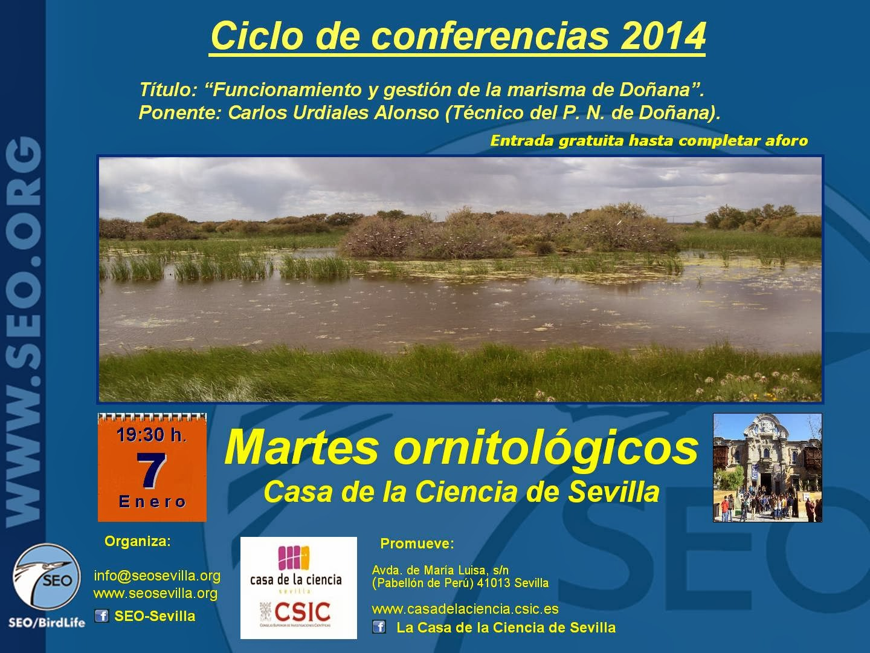 """Conferencia Ciclo """"Martes Ornitológicos"""" en la Casa de la Ciencia. """"Funcionamiento y gestión de la marisma de Doñana"""""""