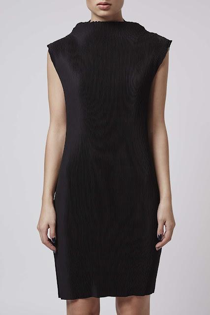 topshop boutique neck dress, black pleat high neck dress,