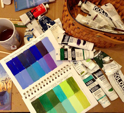 Photograph of my messy work table with paint tubes, brushes, sketch book, and a mug of tea all in a heap