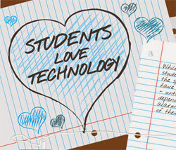 Scribbling of students love technology