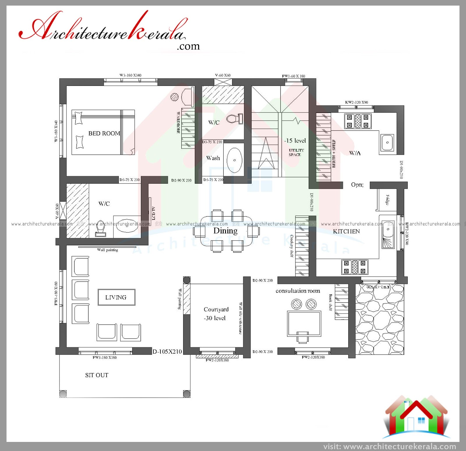 Three bedroom house plan and elevation in 2000 sq ft for Layout design for 3 bedroom house