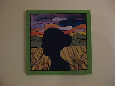 Ruth returning to Naomi, walking through barley fields. Mounted on canvas