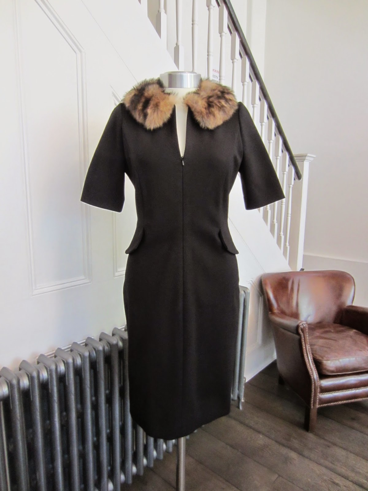 Bastyan Black Dress with Detachable Sheepskin Collar