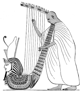 Harp-player. From an Egyptian painting.