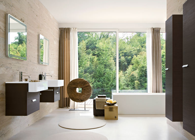Dise o de ba os modernos beige y chocolate ideas para for Disenos de banos modernos para casas