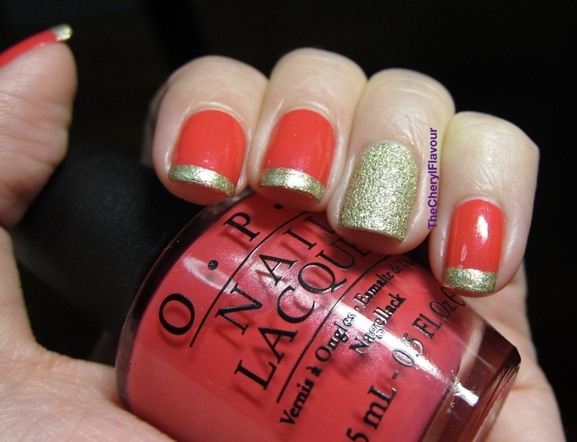 The Cheryl Flavour: Red & Gold French Tips
