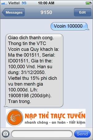 Nạp Thẻ Trực Tuyến giới thiệu cú pháp SMS mua mã thẻ Vcoin