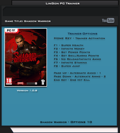 Shadow Warrior v1.0.8 Trainer +10 [LinGon]