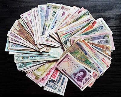 Paper money (bills) from around the world