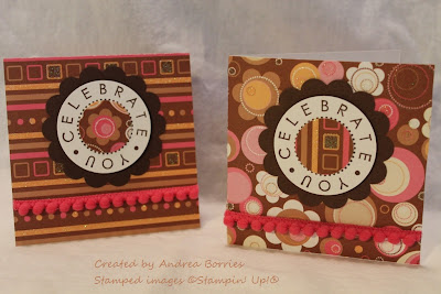 "Two square birthday cards with brown, pink and orange patterned paper (one stripes and one circles and flowers) and the sentiment ""celebrate you."""