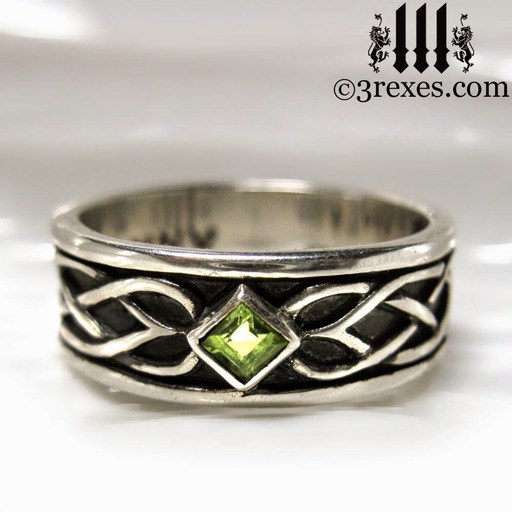 mens silver celtic soul wedding ring green peridot stones august birthstone jewelry by 3 rexes jewelry