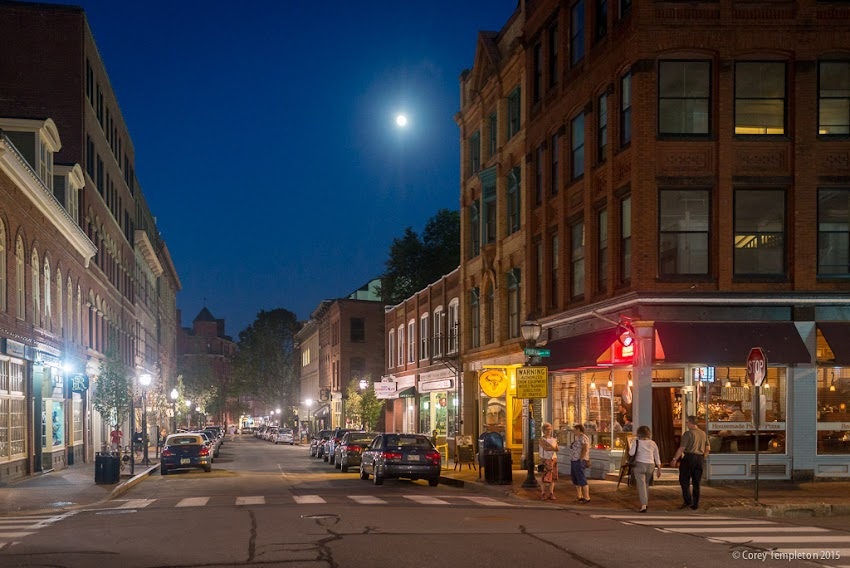 Exchange and Federal Street in the Old Port of Portland, Maine USA July 2015 with moon photo by Corey Templeton.