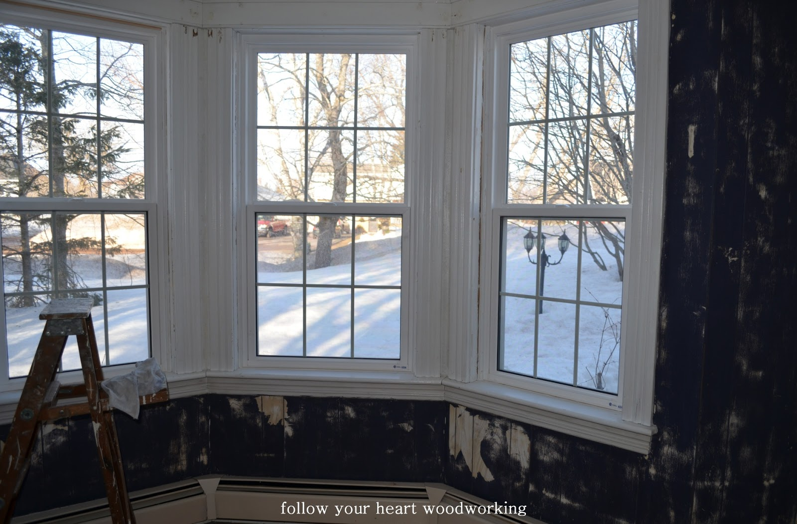 Follow your heart woodworking living room part 2 bay for Bay window interior