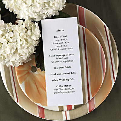 Wedding Reception on Wedding Reception Menus