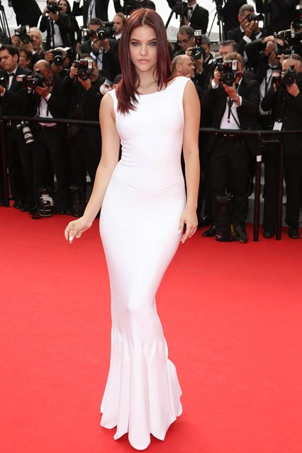 model Barbara Palvin in a simply elegant white dress at Cannes 2014