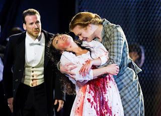 David Stephenson as Enrico, Elvira Fatykhova as Lucia, Olivia Ray as Alisa in Lucia di Lammermoor, Opera Holland Park 2012