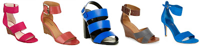 Nine West Risktaker Wedge Sandals $39.99 (regular $89.00)  Nine West Narcissus Ankle Strap Sandals $49.99 (regular $89.00)  Aldo Cradia Heel $50.00 (regular $100.00)  Nine West Chekmayte Wedge Sandal $69.90 (regular $88.95) alternate link  Ivanka Trump Gelana Suede High Heel Sandals $77.99 (regular $130.00)