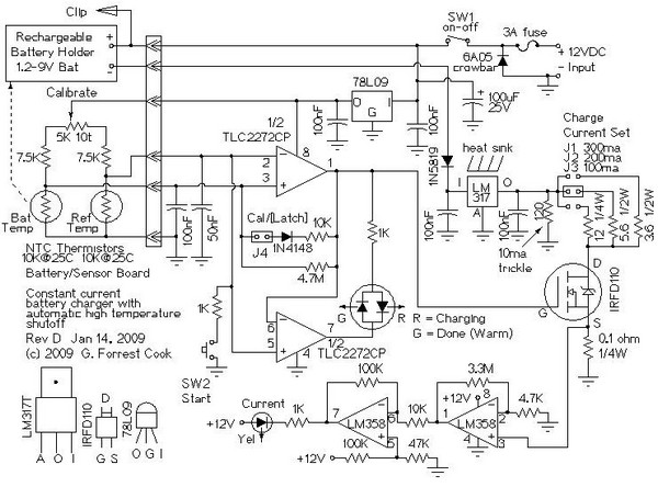 circuit schematic 12v  4-aa cell differential temperature charger