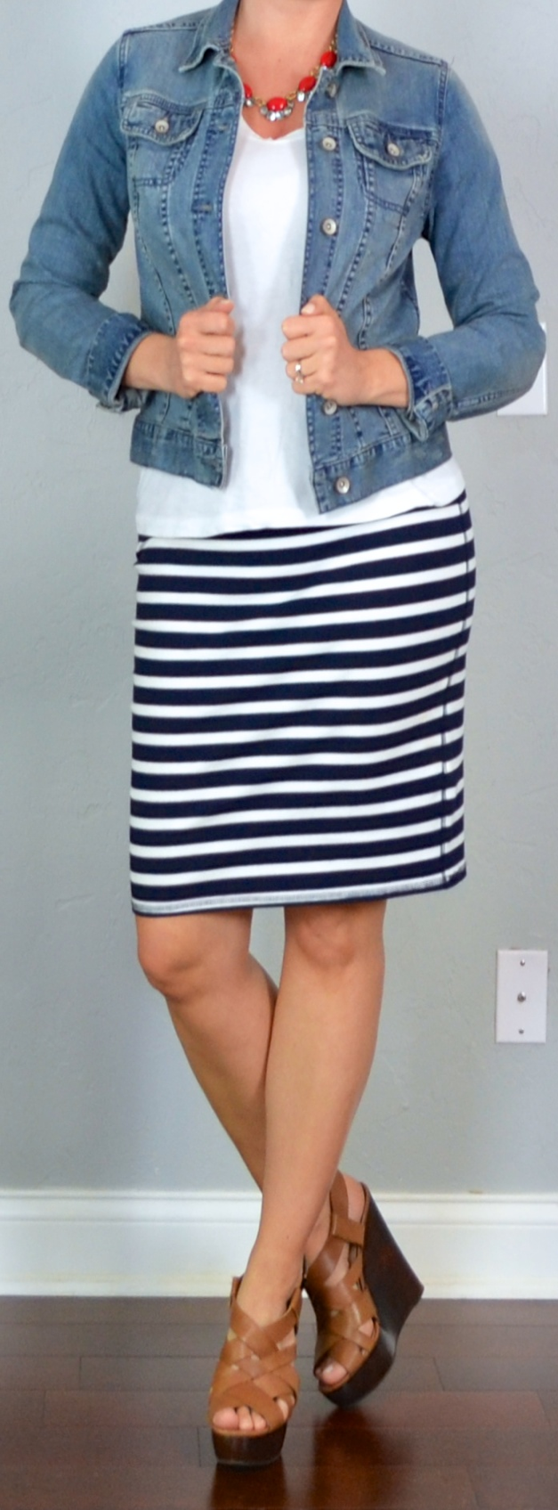 Outfit post jean jacket white t-shirt striped jersey ...