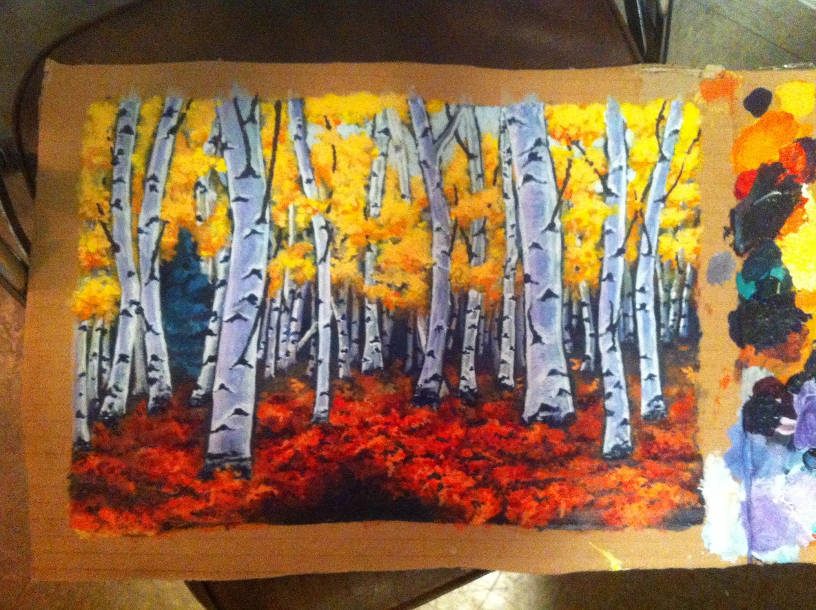 Apsen forrest acrylic painting stages