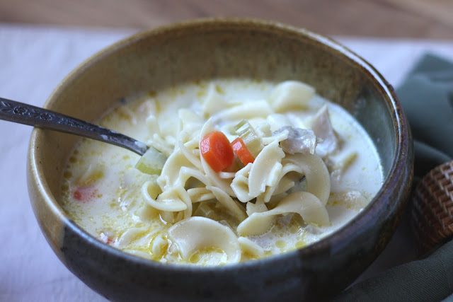 Creamy Turkey Noodle Soup recipe by Barefeet In The Kitchen