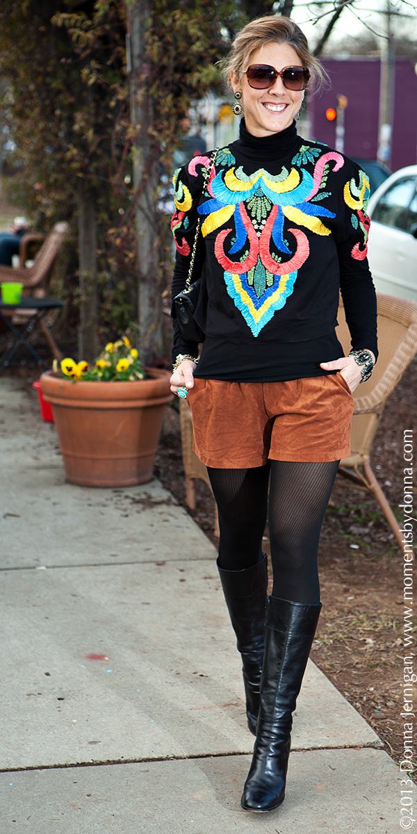 ASOS Ribbon Applique Shirt, CAbi turtleneck, Piperlime Faux Suede Shorts, J. Crew Tights and Boots, Blinde Eyewear, Vintage Ring and Bracelet, J.T. Posh Earrings, Chanel Quilted Chain Purse, the Queen City Style, Smelly Cat Coffee Shop, Charlotte, NC, Donna Jernigan Photography